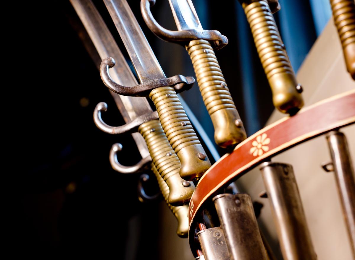 A display of bayonets.