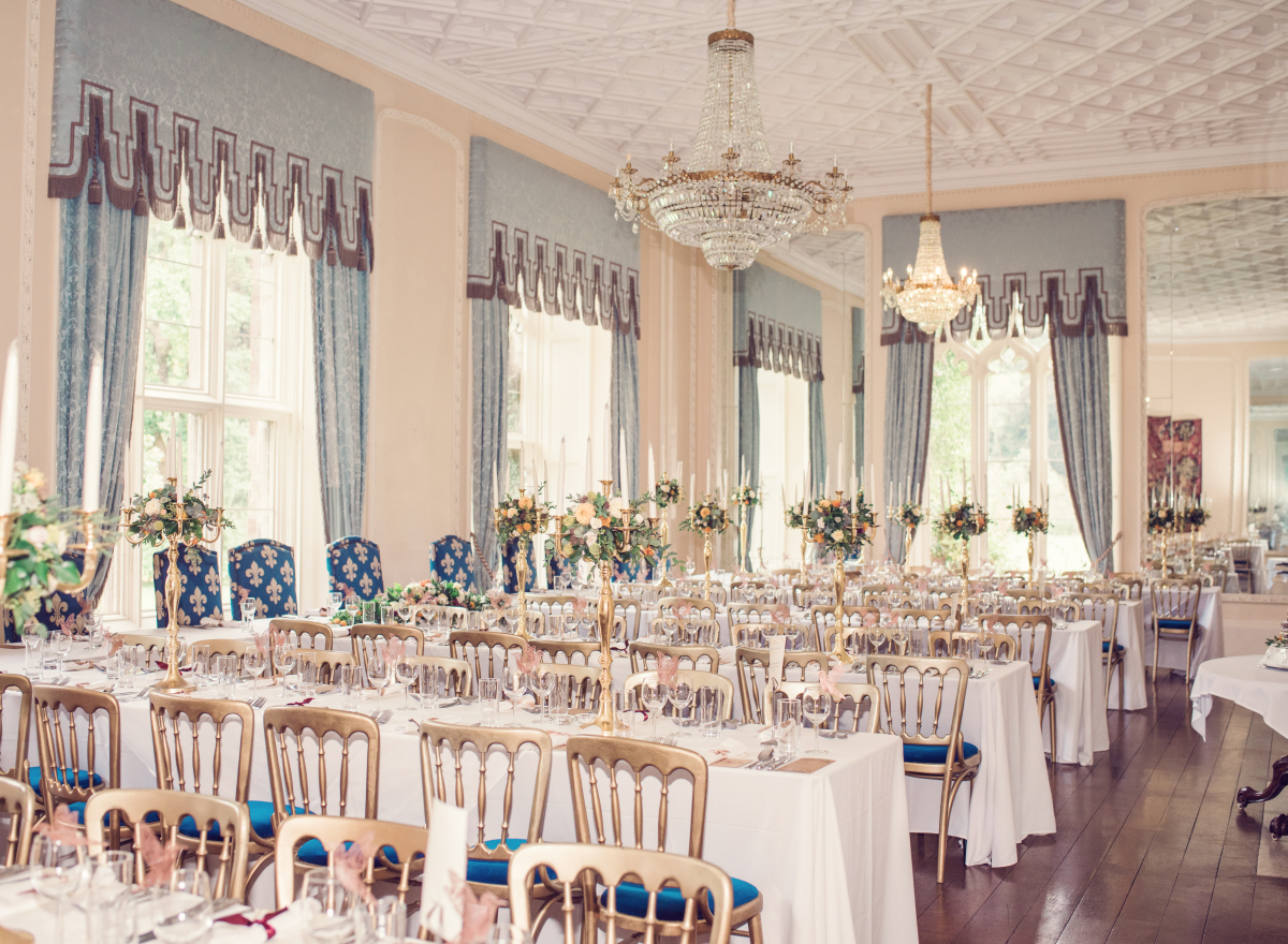 Ballroom laid up with long tables