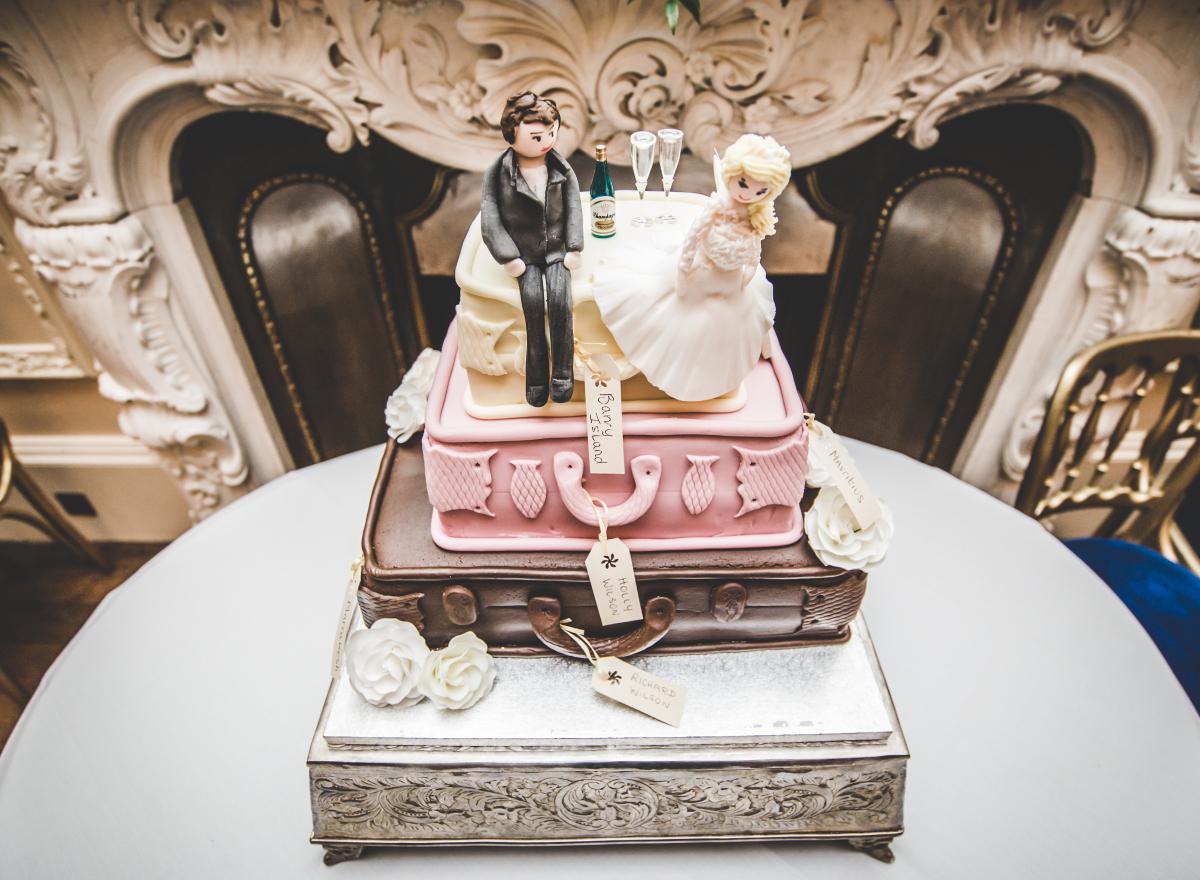 A suitcase shaped wedding cake.