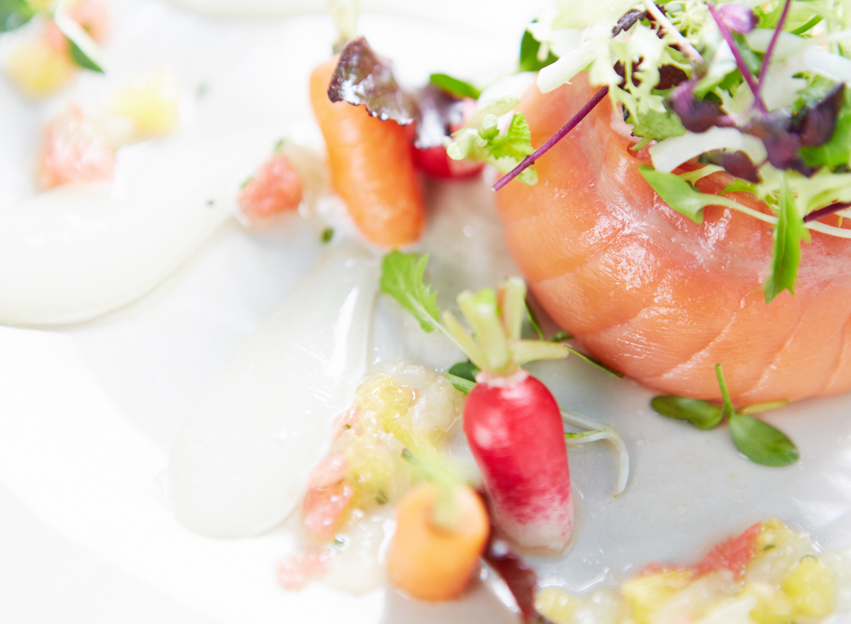A salmon starter with baby vegetables