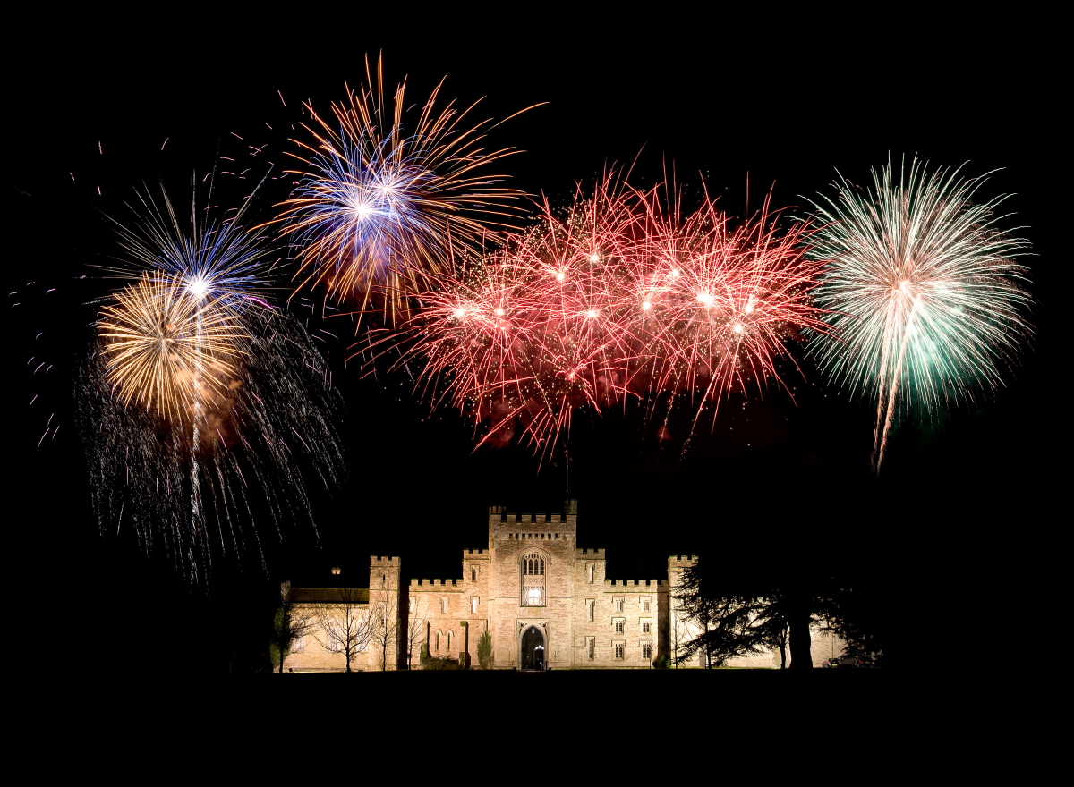 Fireworks exploding above a castle