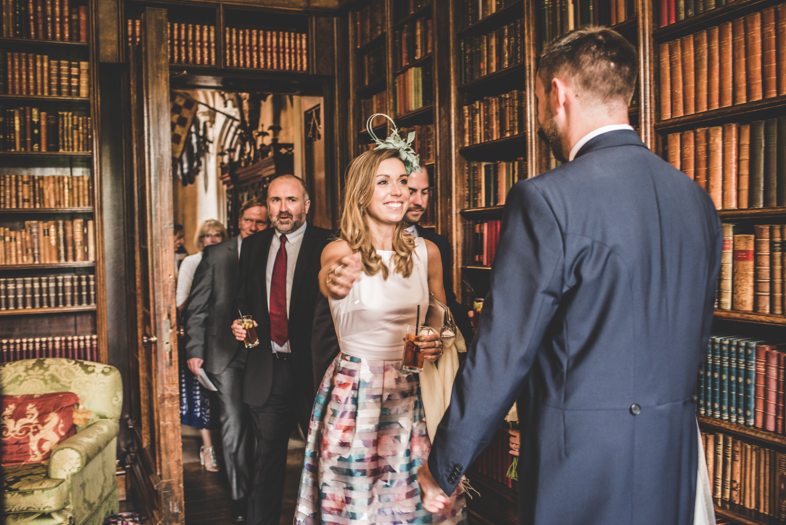 Guests gathering in a library