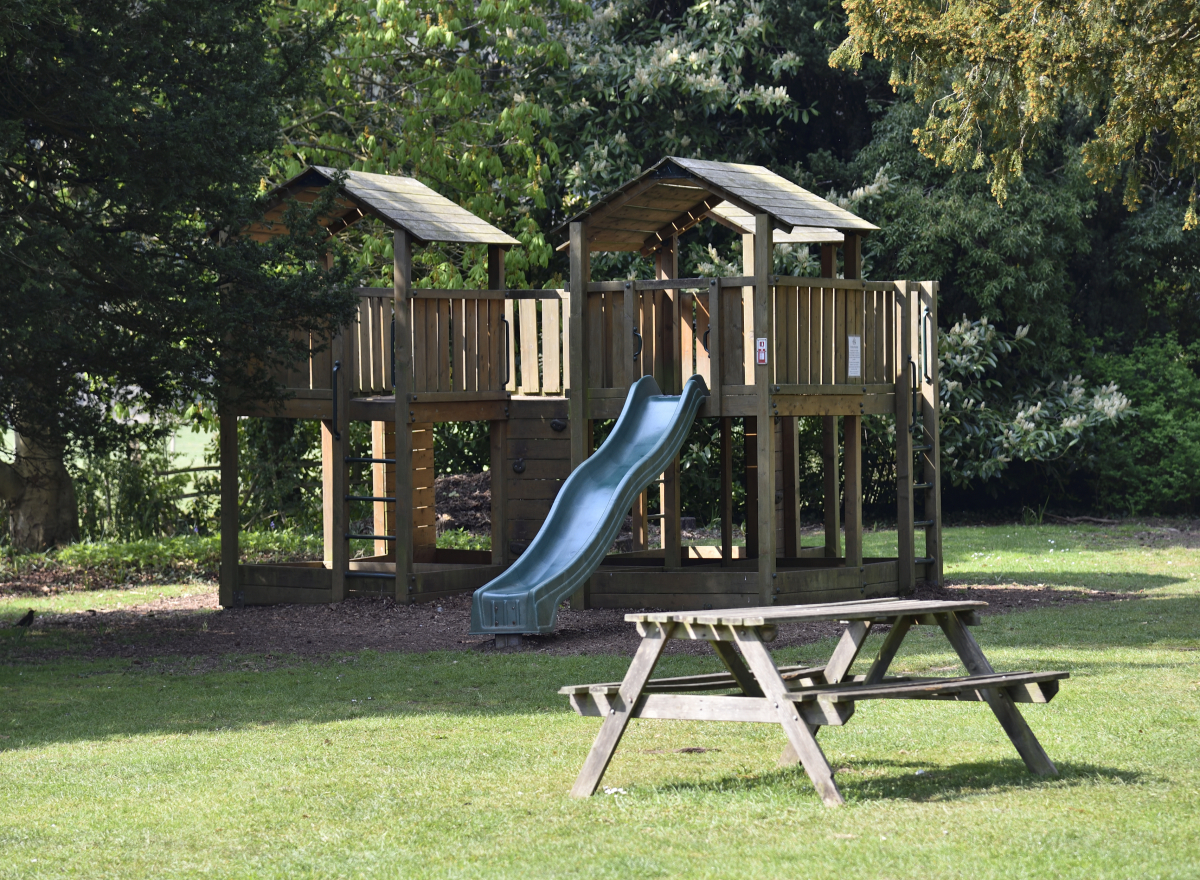 A wooden play area for children