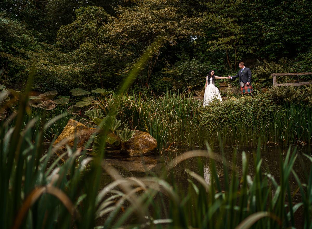 Couple in green garden