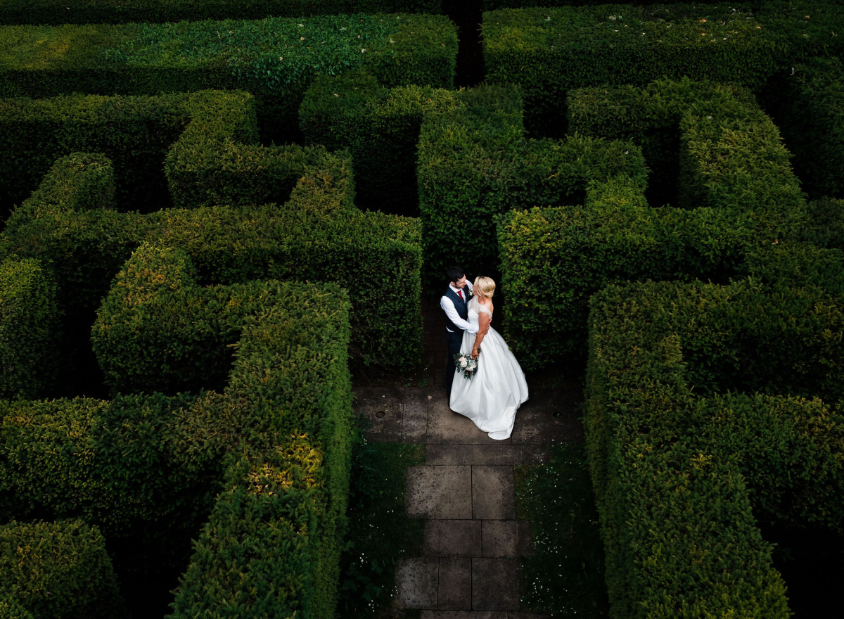 Couple standing in Maze