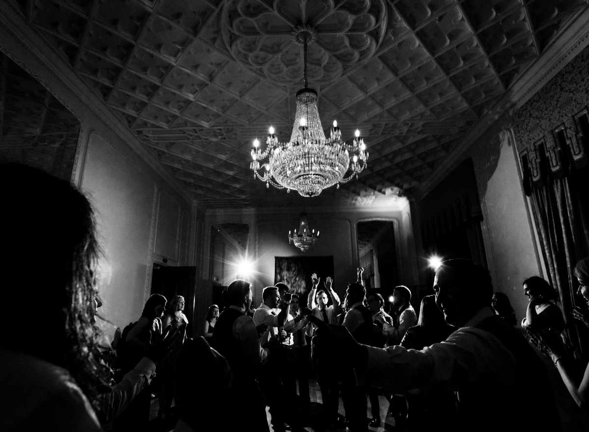 Black and white image of people dancing in the ballroom.
