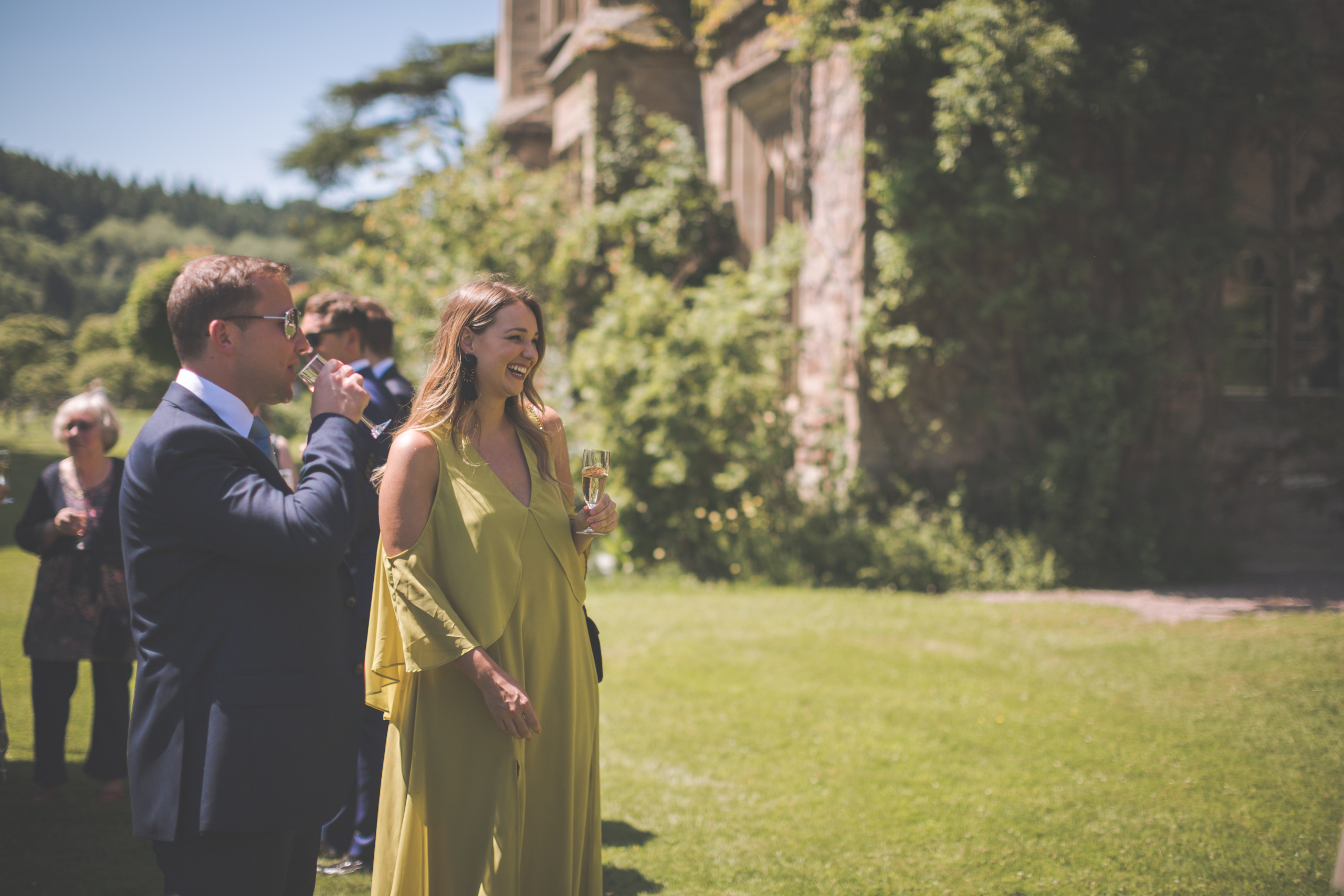 Wedding guests standing on sunny South Lawns with Castle in background.